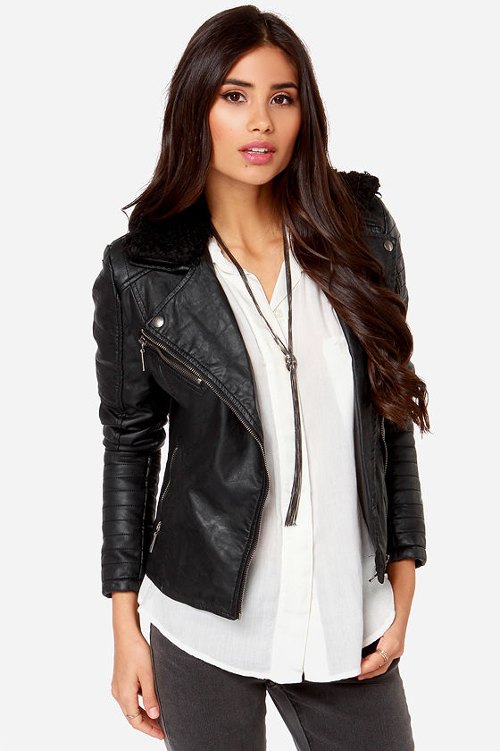 Cute Black Jacket - Vegan Leather Jacket - Moto Jacket - $105.00