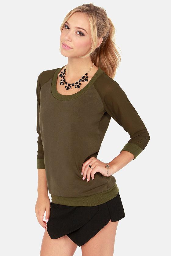 Madam and Sleeve Olive Green Sweatshirt at Lulus.com!