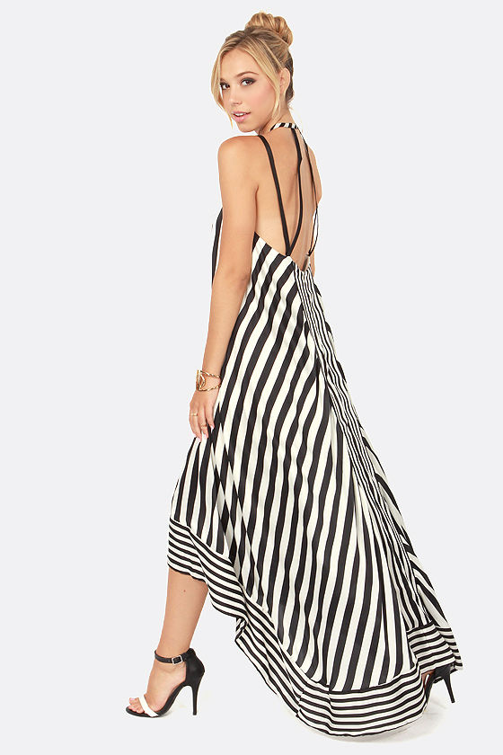 Black And White Vertical Striped Maxi Dress 611ea7472