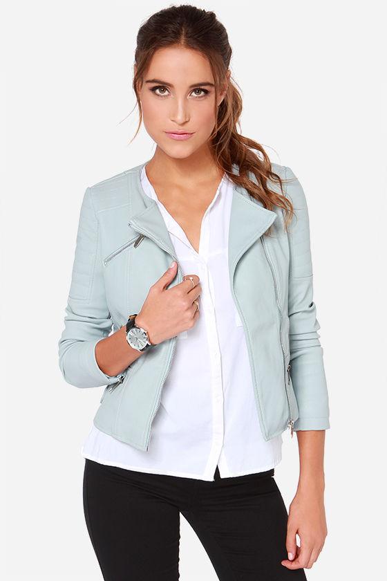 Pale blue ladies leather jacket – Modern fashion jacket photo blog