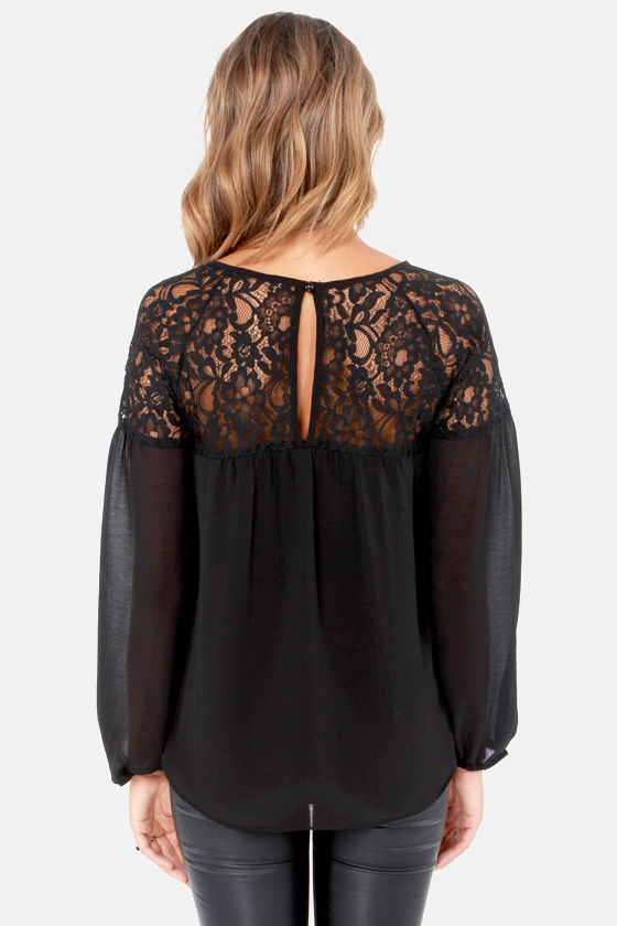 Flow-It-All Long Sleeve Black Lace Top at Lulus.com!