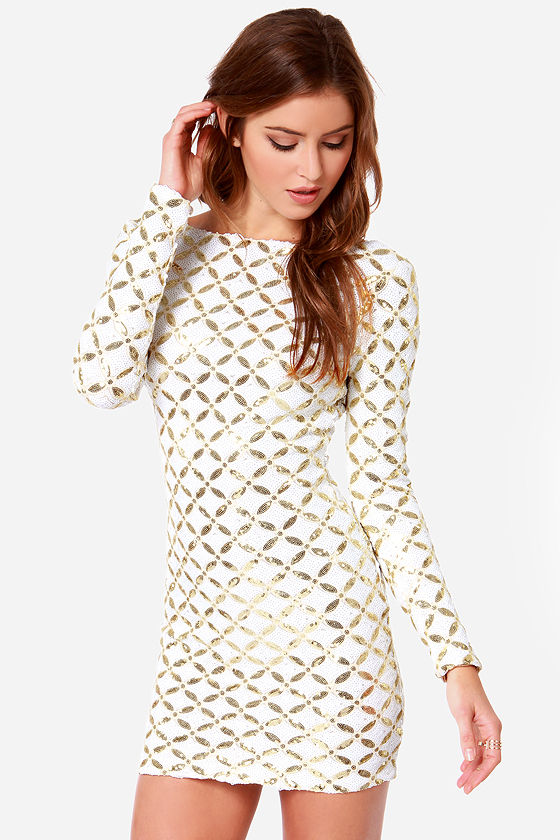 Dress the Population Lola - Gold Sequin Dress - Long Sleeve Dress ...