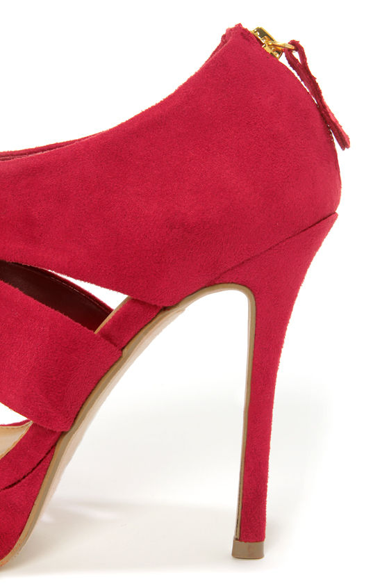 My Delicious Large Lipstick Red Suede Cutout Peep Toe Heels at Lulus.com!