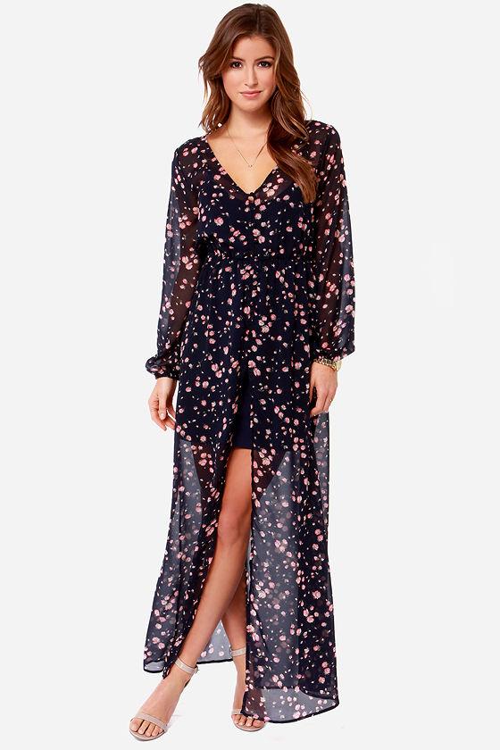Volcom Let&-39-s Elope Dress - Navy Blue Dress - Maxi Dress - Floral ...