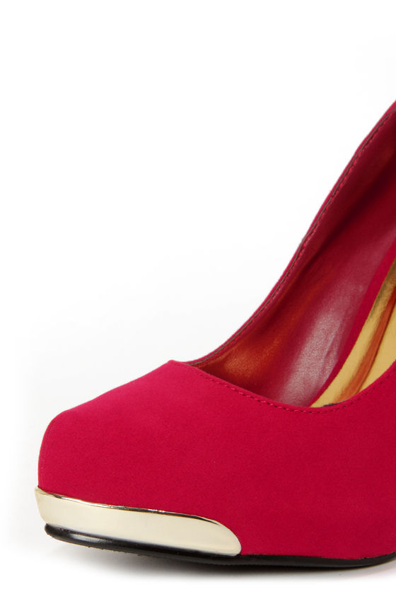 My Delicious Fold Red Gold-Tipped Platform Pumps at Lulus.com!