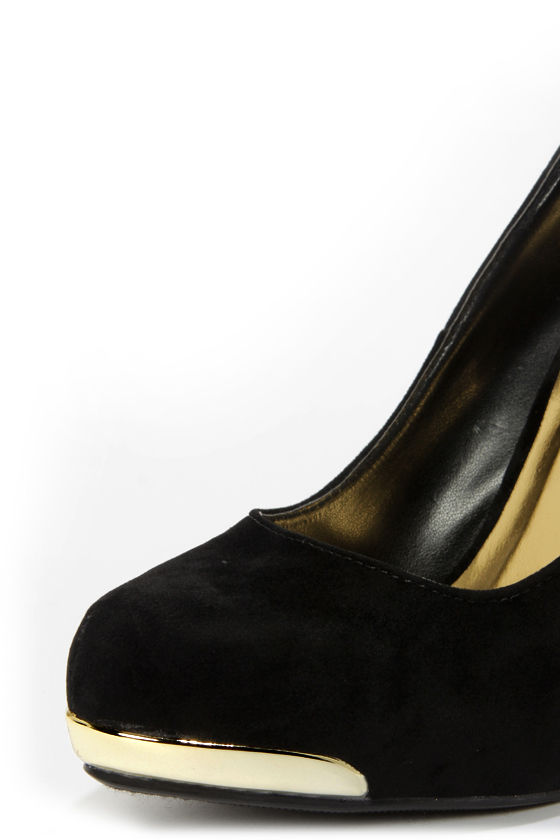 My Delicious Fold Black Gold-Tipped Platform Pumps at Lulus.com!