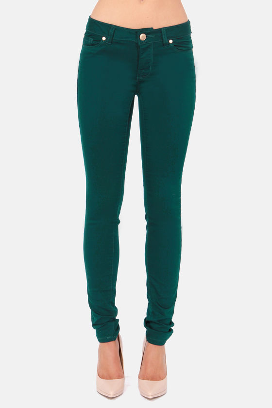 Cute Emerald Green Jeans - Skinny Jeans - Dark Green Jeans - $51.00