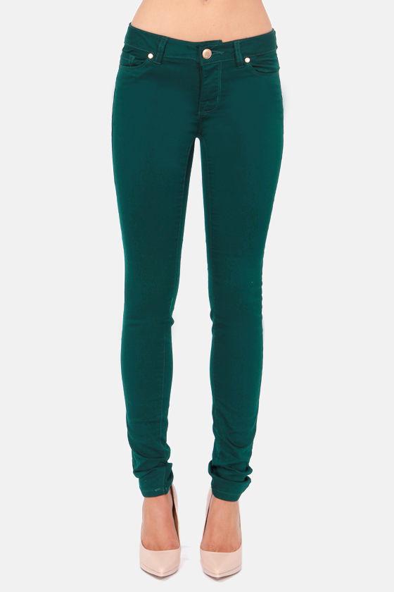 Moto Super Skinny Emerald Green Skinny Jeans at Lulus.com!