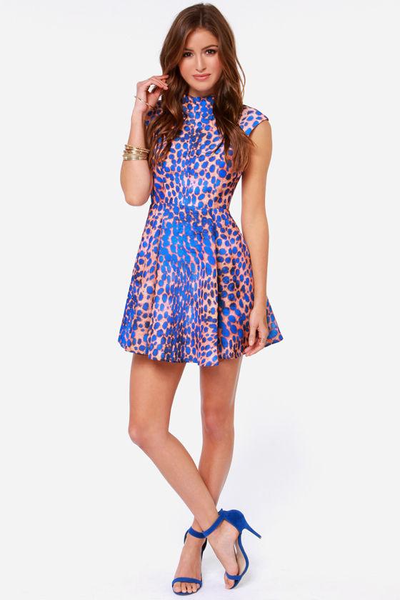 ae071c005d0b1 Cameo Night Sky - Cobalt Blue Dress - Leopard Print Dress - $189.00