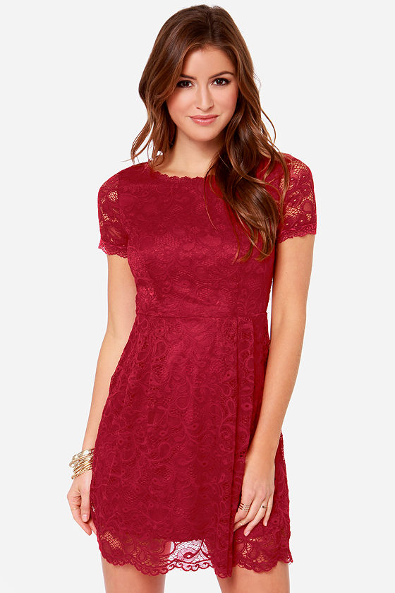 Pretty Wine Red Dress - Lace Dress - Short Sleeve Dress - $42.00