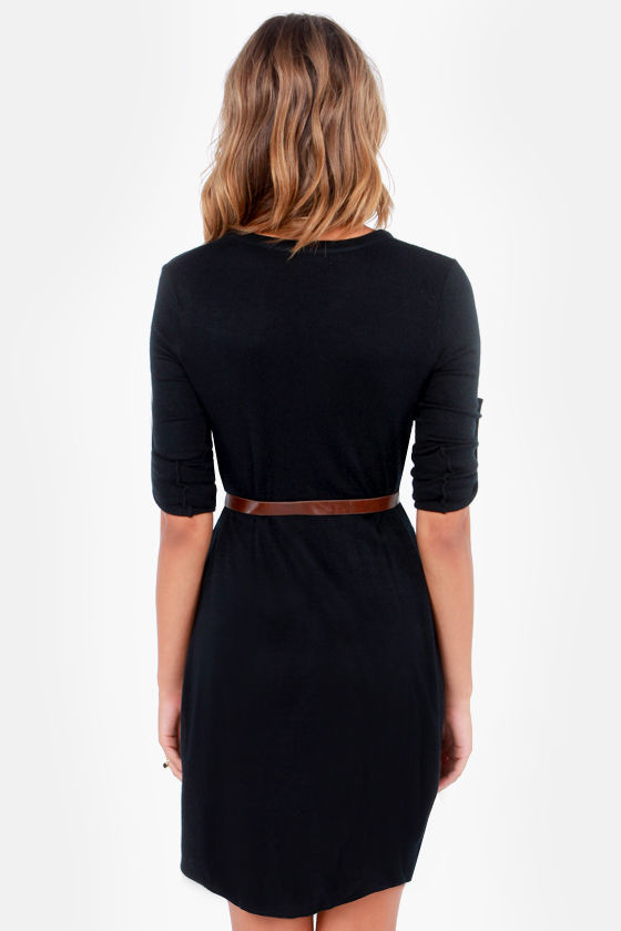 Sweater Than Ever Belted Black Sweater Dress at Lulus.com!