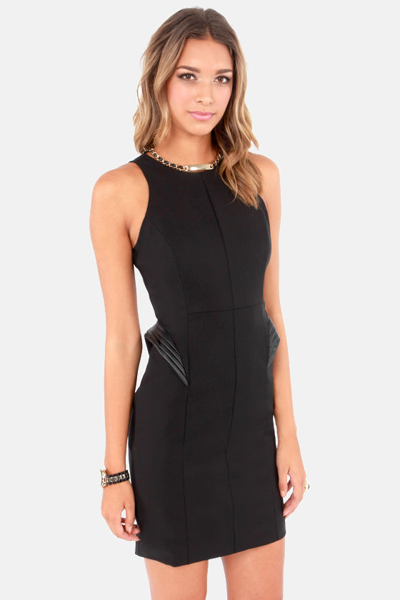 She's So Sci-Fly Black Peplum Dress at Lulus.com!