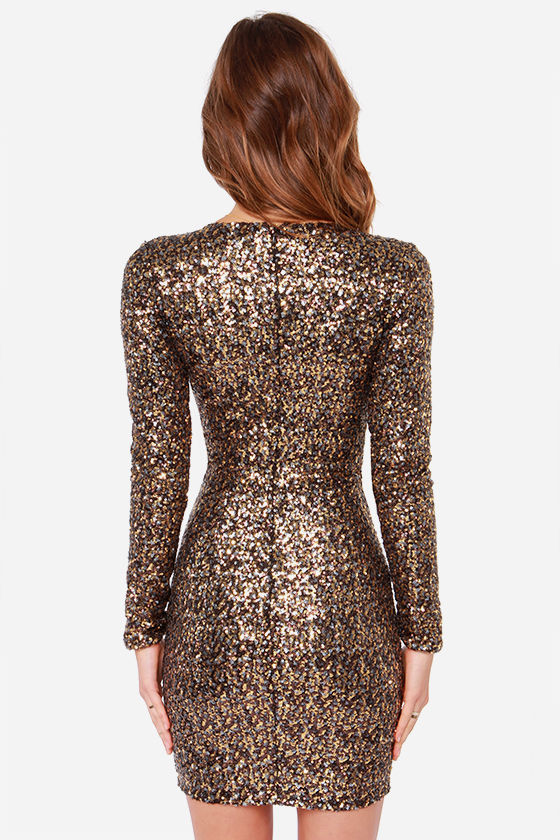 Dress the Population Bridget - Gold Sequin Dress - Long Sleeve ...