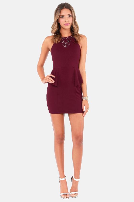 0779d187a8e9 Sexy Burgundy Dress - Peplum Dress - Beaded Dress -  42.00