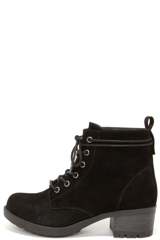 Cute Black Boots - Work Boots - Ankle Boots - Lace-Up Boots - $31.00