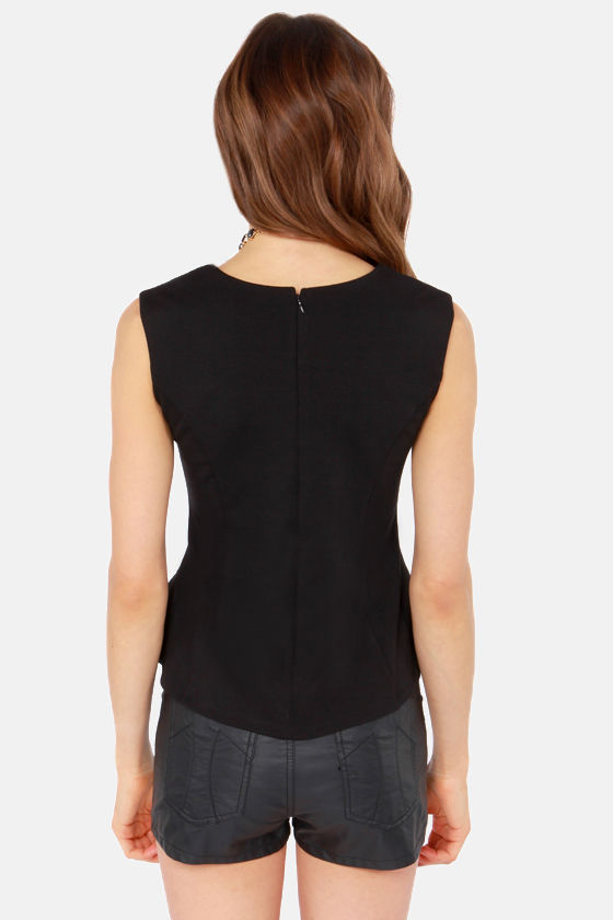 Jacquard Day's Night Sleeveless Black Top at Lulus.com!
