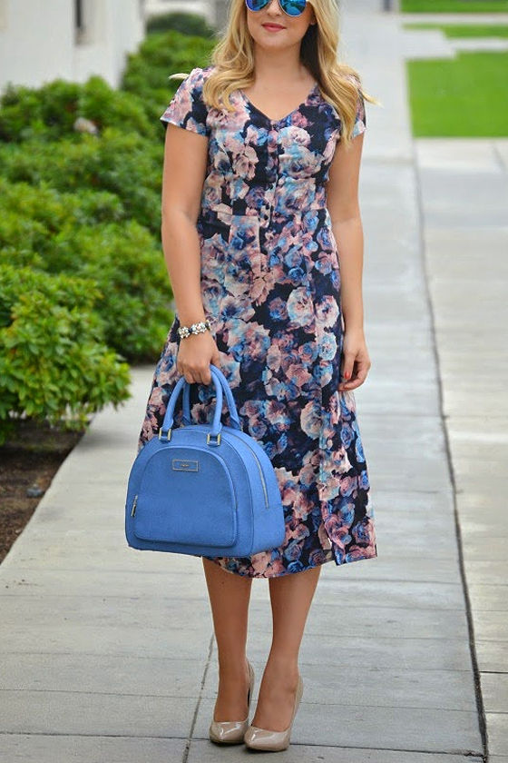 Jack by BB Dakota Zooey Navy Blue Floral Print Midi Dress at Lulus.com!