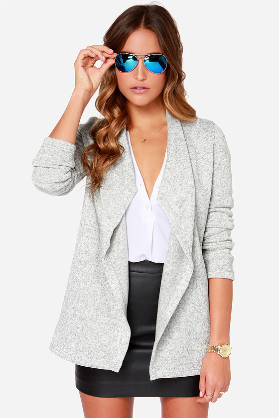 Jack by BB Dakota Davy - Grey Sweater - Fleece Cardigan -