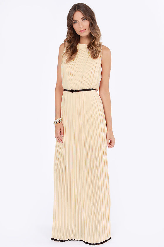 As Pleat as Honey Light Peach Maxi Dress at Lulus.com!