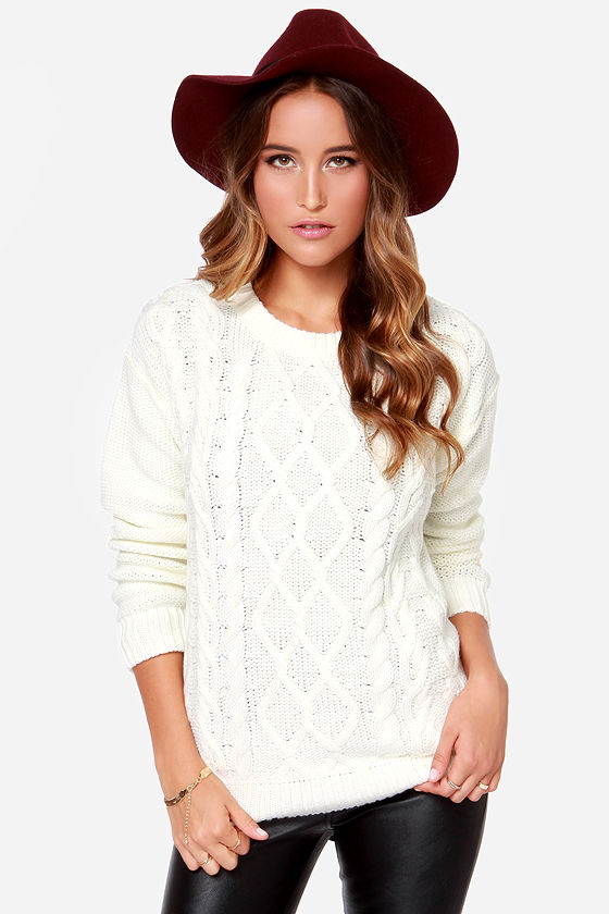 Obey Heith - Cream Sweater - Cable Knit Sweater - $66.00