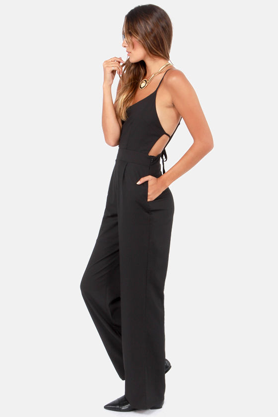 Hoppy Go Lucky Backless Black Jumpsuit at Lulus.com!