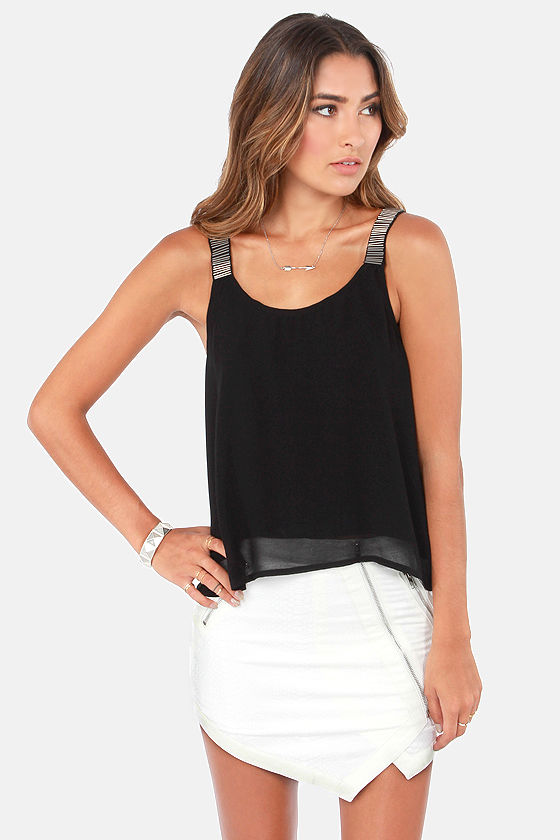 Full Bead Ahead Beaded Black Tank Top at Lulus.com!