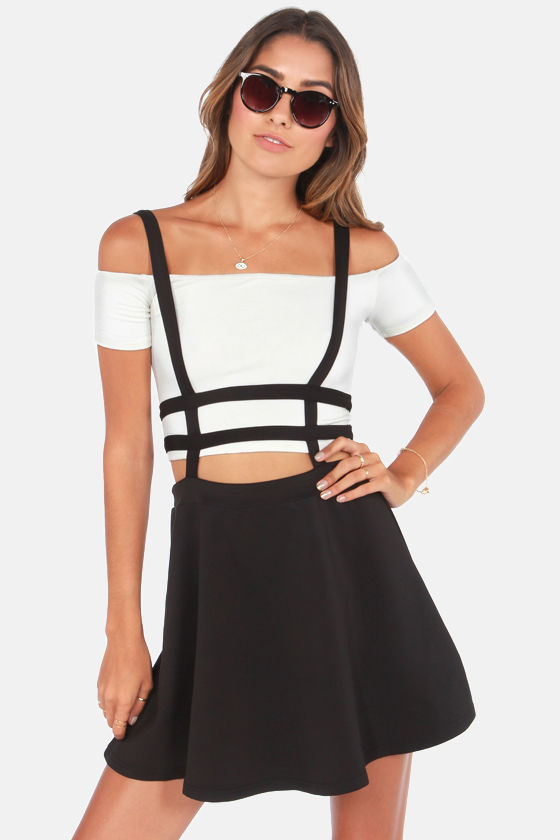 Cute Suspender Skirt - Black Skirt - Skater Skirt - $42.00
