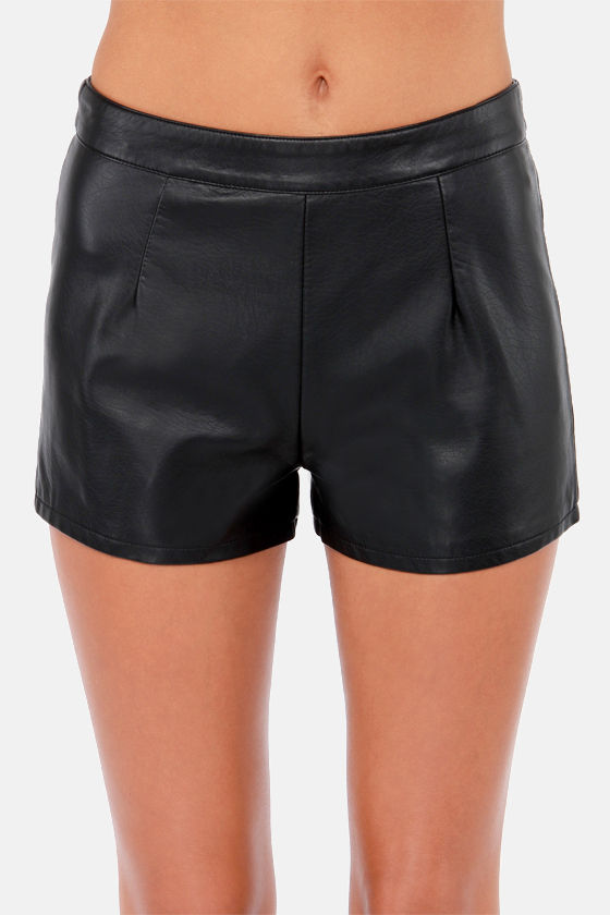 Good, Leather, Best! Black Vegan Leather Shorts at Lulus.com!