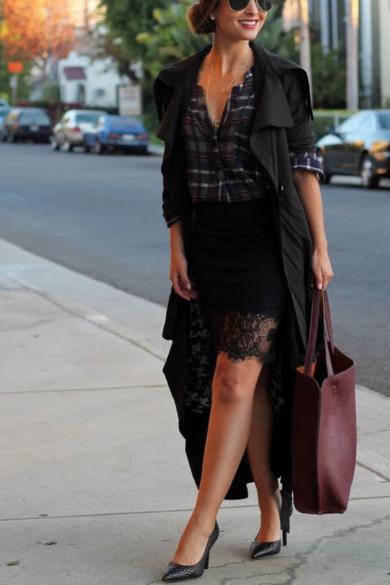 Suit Your Fancy Black Lace Skirt at Lulus.com!