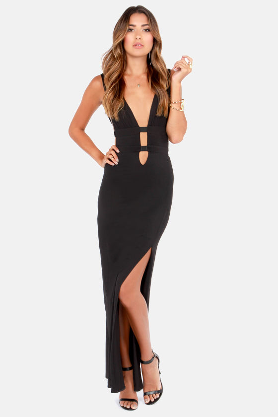 Sexy Black Dress Maxi Dress Cutout Dress 49 00