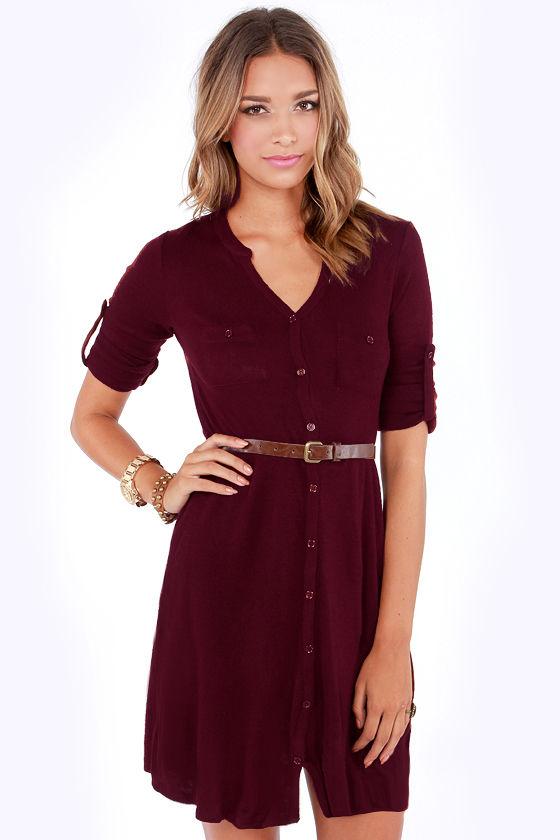 b168c5f79d09 Cute Burgundy Dress - Belted Dress - Shirt Dress - Sweater Dress -  39.00