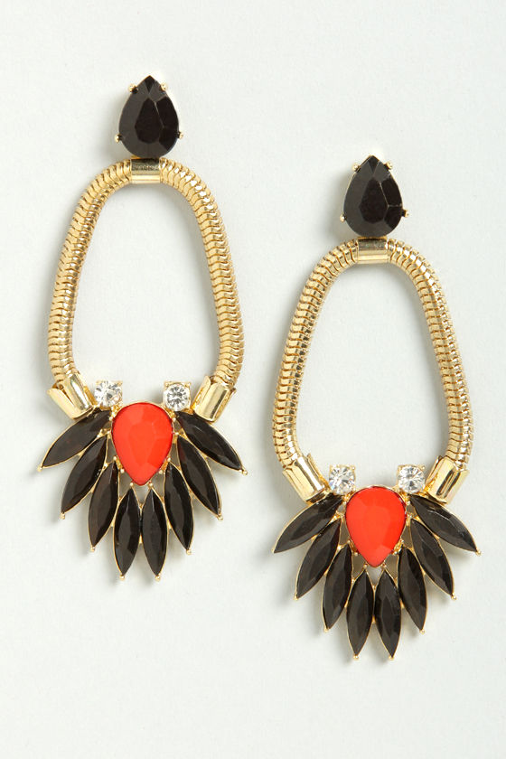 Rhinestone Revelry Red and Black Earrings at Lulus.com!