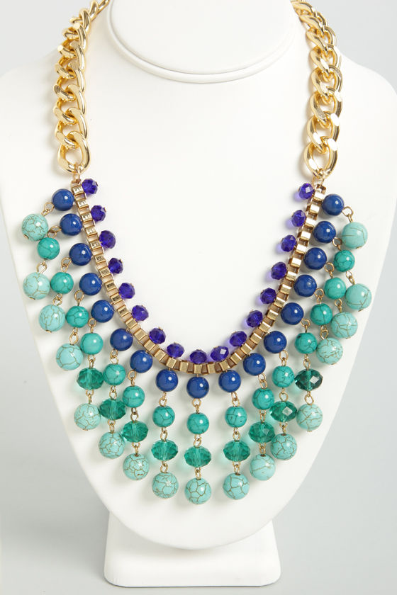 Suspend Reality Blue and Teal Statement Necklace at Lulus.com!