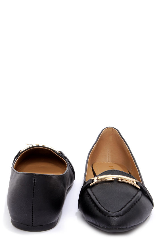 Bamboo Catchy 03 Black Pointed Loafer Flats at Lulus.com!