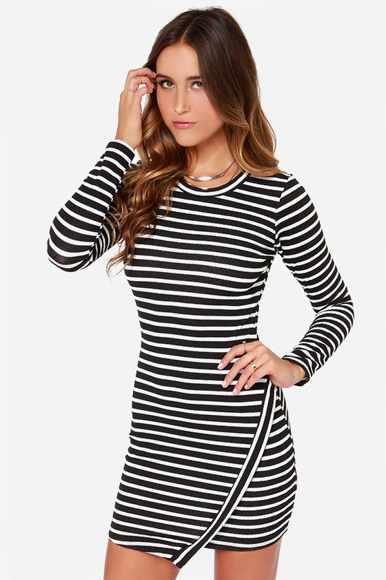 Black and Ivory Striped Dress - Long Sleeve Dress - Bodycon Dress ...