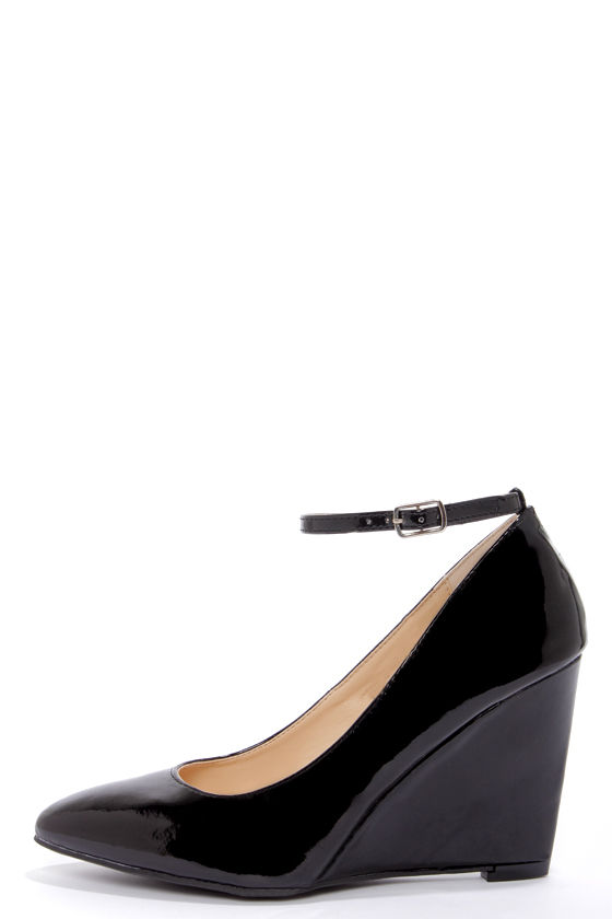 Cute Black Wedges - Ankle Strap Wedges - Black Patent Heels - $34.00