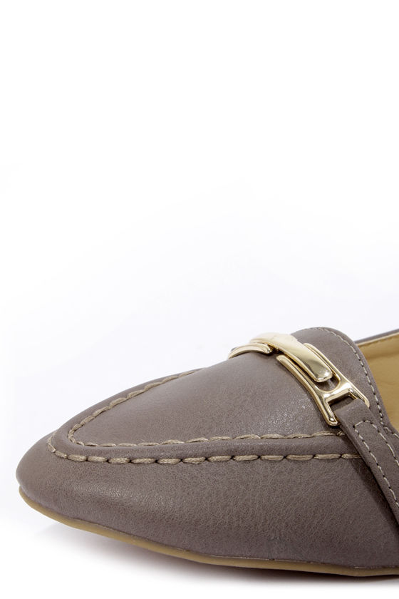 Bamboo Catchy 03 Taupe Pointed Loafer Flats at Lulus.com!