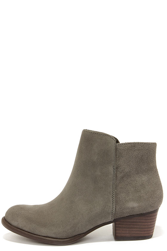 Cute Grey Boots - Suede Boots - Ankle Boots - Booties - $109.00