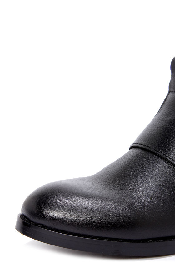 Kelsi Dagger Kolete Black Tumbled Leather Ankle Boots at Lulus.com!