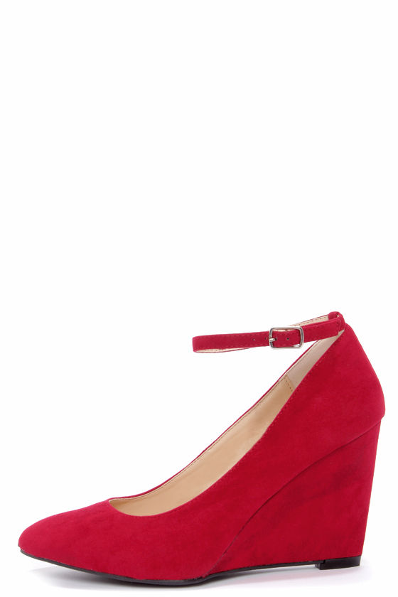 Cute Red Wedges - Ankle Strap Wedges - Suede Heels - $34.00
