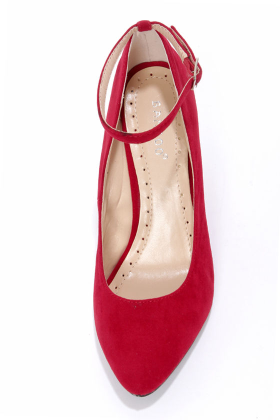 Bamboo Reya 02 Bordeaux Red Suede Ankle Strap Wedges at Lulus.com!