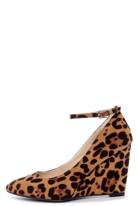 Bamboo Reya 02 Leopard Print Suede Ankle Strap Wedges