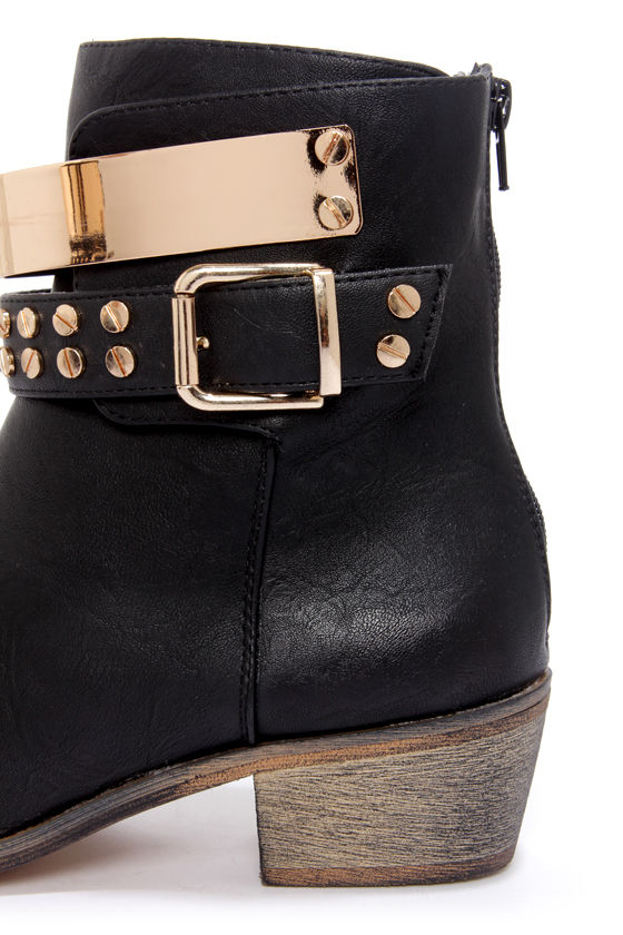 Yoki Margie 01 Black and Gold Studded Ankle Boots at Lulus.com!