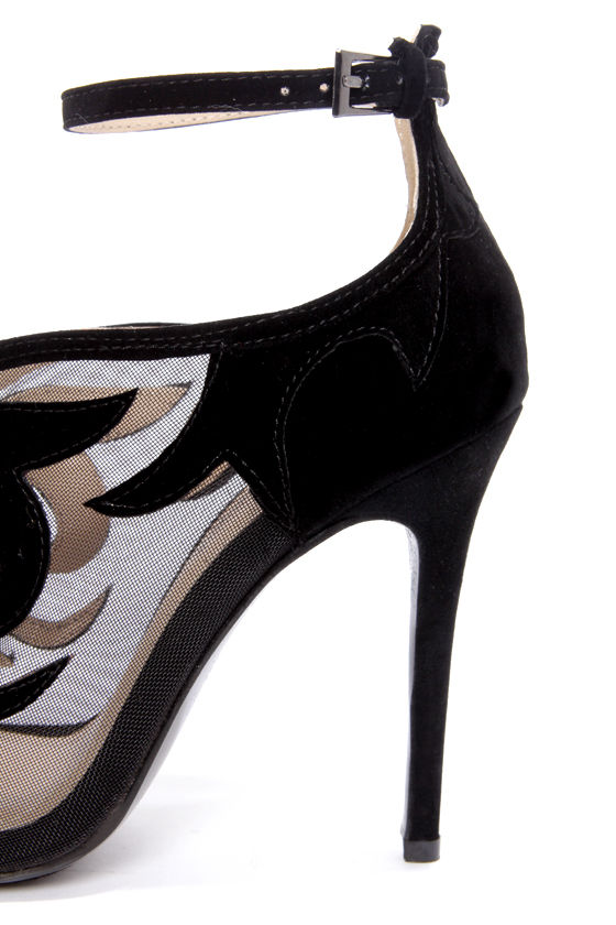Anne Michelle Rapture 33 Black Suede Ankle Strap Heels at Lulus.com!