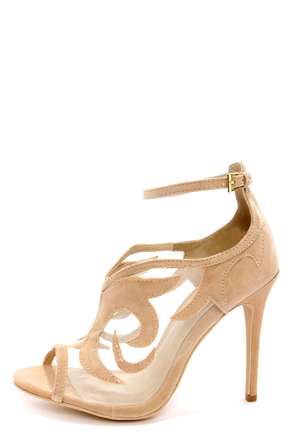 Cute Nude Heels - Ankle Strap Heels - Nude Shoes - Suede -5796