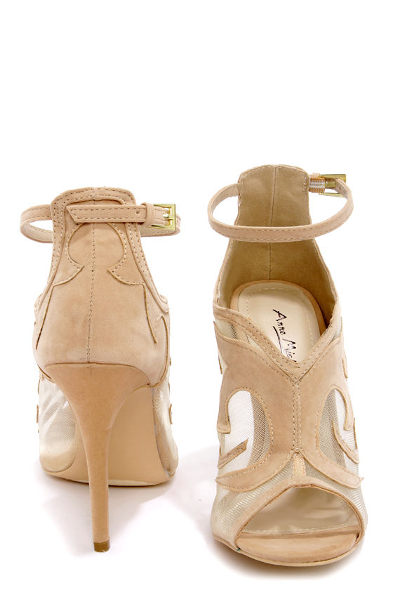 Anne Michelle Rapture 33 Nude Suede Ankle Strap Heels at Lulus.com!