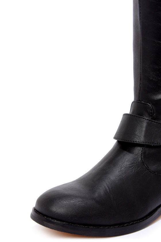 Very Volatile Wicker Black Knee High Riding Boots at Lulus.com!