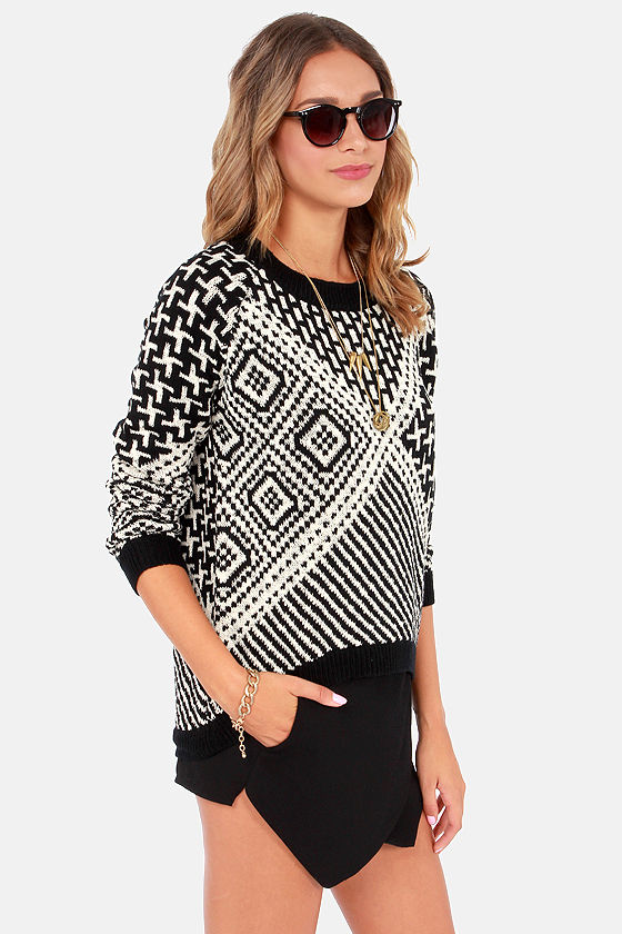 How The Southwest Was Won Black and Cream Print Sweater at Lulus.com!