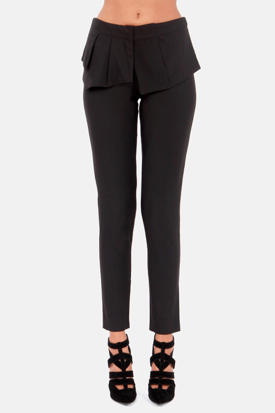 Dreams Do Peplum True Black Peplum Pants at Lulus.com!