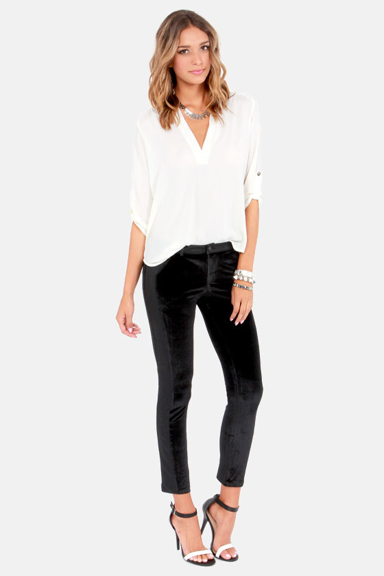 Sexy Black Pants - Velvet Pants - Vegan Leather Skinnies ...
